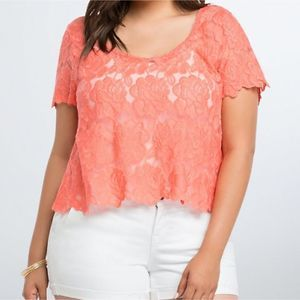 Torrid Coral Embroidered Floral Lace Crop Top 3X